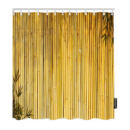 Yellow Stripe Shower Curtain - Moslion Bamboo Bathroom Curtains Chinese Japanese Style Stripe Botanical Leaves Branch Plant Wood Shower Curtains Home Extra Long Polyester Fabric Shower Curtain with Hooks 72x72 Inch Yellow