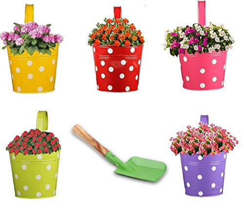 Trajectory Exotic Multicolored Railing Planters with a Gardening Trowel (Set of 5) product image