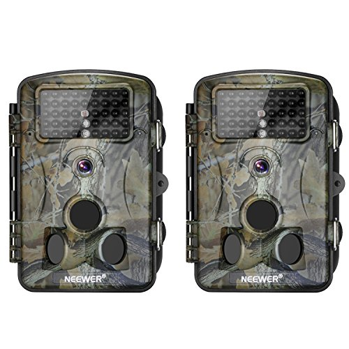 Neewer 2-Pack Hunting Trail Camera Infrared Night Vision, 1080P 12MP HD Infrared 2.4 inches LCD Screen, 120 Degree Wide Angle, Waterproof Dustproof for Wildlife Scouting Surveillance