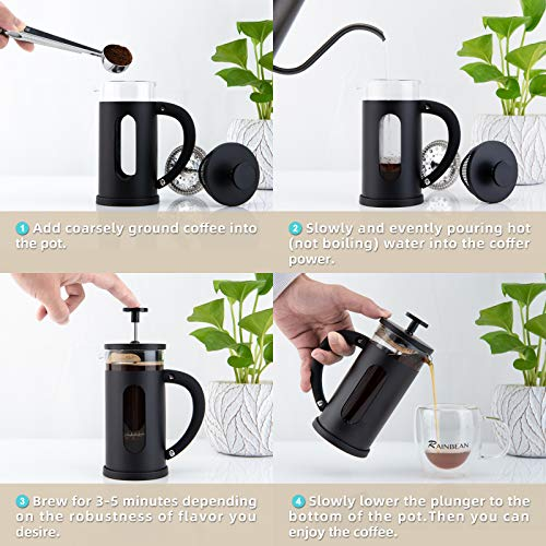 Mini French Press Coffee Tea Maker for 350ml/12oz with 4 Level Filtration System Borosilicate Glass Durable Stainless Steel Thickened Heat Resistant