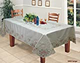 "Creative Linens Embroidered Pink Rose Floral Tablecloth 70x140"" Rectangular & 12 Napkins Beige Spring"