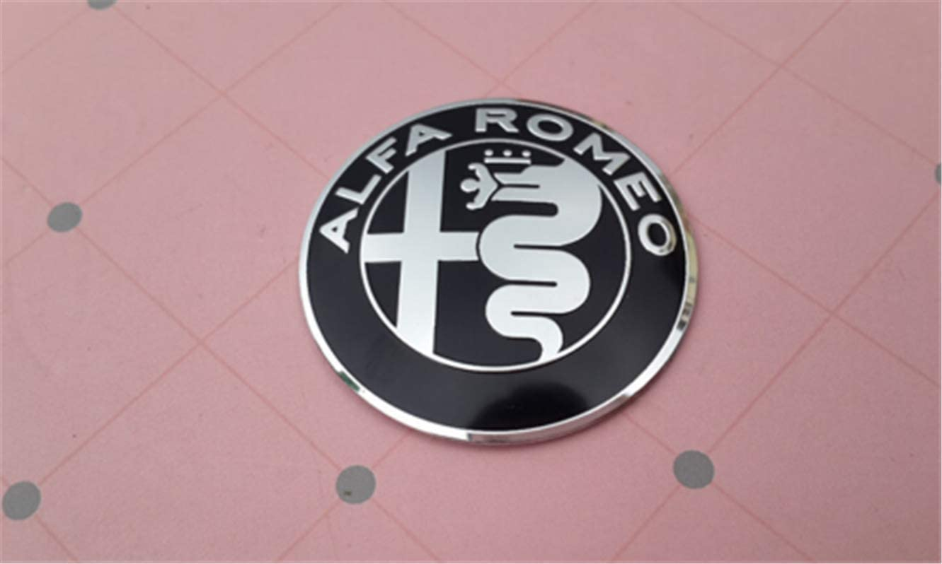 Since 7 pcs Alfa Romeo Badge Embl/èmes 74mm Capot//Arri/ère 60mm Roue 40mm Volant Noir