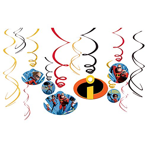 Amscan 12 Disney Pixar Incredibles 2 Superhero Birthday Party Hanging Cutout Swirls (Superhero Halloween Party Invitations)