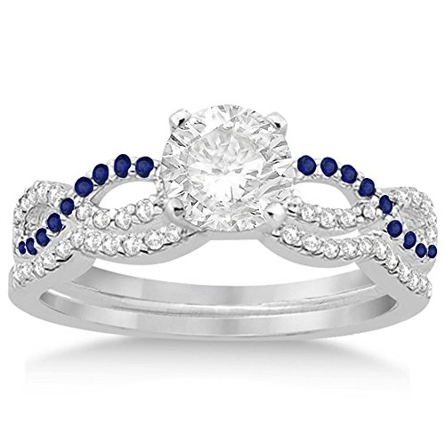 Infinity Twist Diamond and Blue Sapphire Engagement Ring with Contour Wedding Band Platinum (0.34ct) -