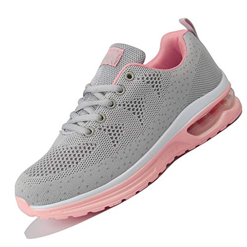 (JACKSHIBO Women Sneakers, Athletic Running Tennis Shoes Air Cushion Comfortable Gym Sneakers Grey)