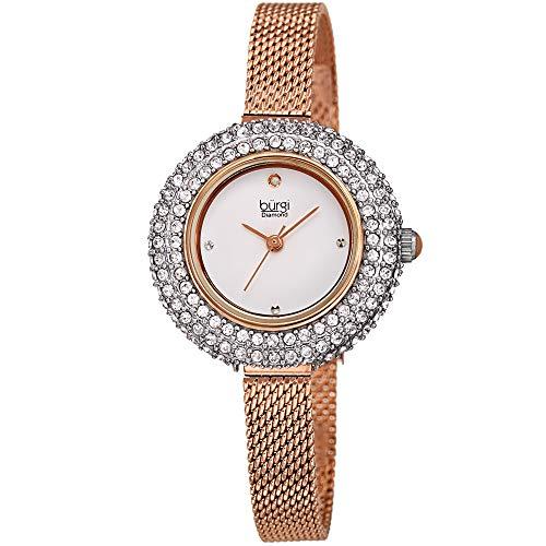 (Burgi Swarovski Crystal Diamond Accented Watch - Sparkling Swarovski Crystals on Stainless Steel Slim Mesh Bracelet - Mothers Day Gift - BUR236RG (Rose Gold))