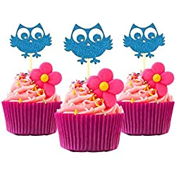 Owl Party Cupcake Topper Color Gold 12 Pack Cupcake Topper Decoration Cake Blue baby shower