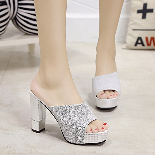 Ladies Sandals Fish JULY Waterproof High Slide T White Fashion Women's Heel Spring Sandals Summer Mouth q1waRnx