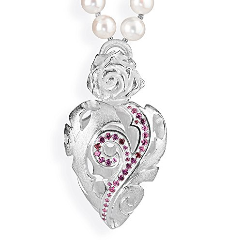 Drachenfels-pendentif femme-rose of antoine argent 925 avec grenat rouge mat-brillant d rOF 35-5/aG