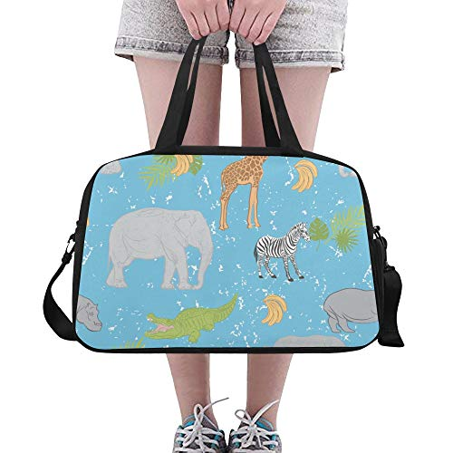 Tote Bags Zebra Giraffe Funny Animal Useful Travel Duffel Bags Waterproof Duffel Workout Bag For Adult Dancer Yoga Camping School Gymsack With Shoe Pounch ()