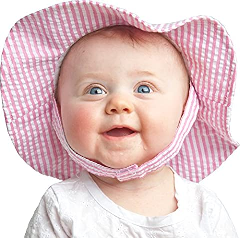 Huggalugs Girls Bright Pink Stripe Seersucker Sunhat UPF 25+ 0-6m - Striped Seersucker Cap