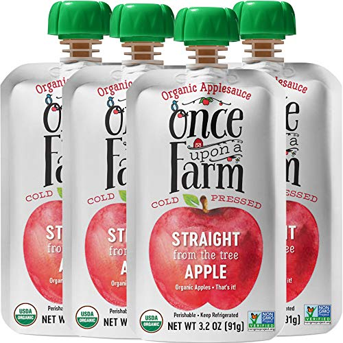Once Upon a Farm | Organic Applesauce Food Pouch | Straight from the Apple Tree | Cold Pressed | Refrigerated | Suitable for All Ages | Pack Of 16