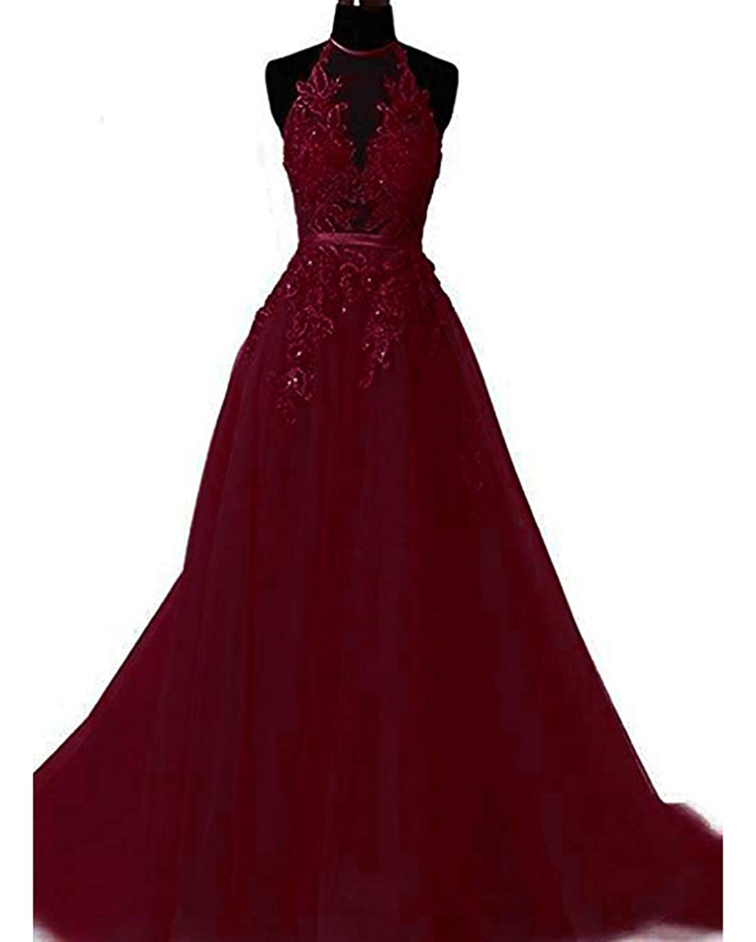 Burgundy olise bridal Sexy Women's Halter Prom Dresses Long 2019 Appliques Backless Evening Fomral Gowns Real Photo