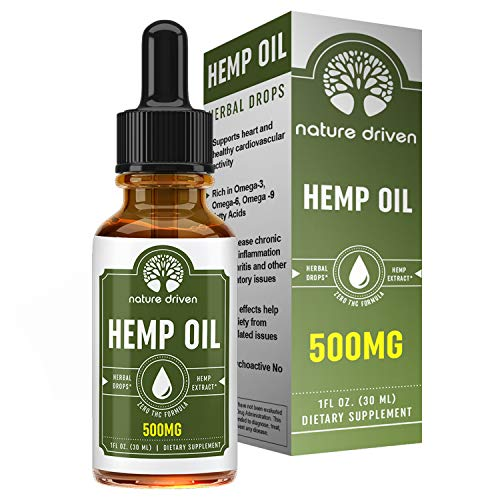 Premium Hemp Oil Drops (500MG) :: Packed with Vitamins and Omega 3 Fatty Acids:: Peppermint Flavored:: Natural Ingredients :: One Month Supply :: Nature Driven Review