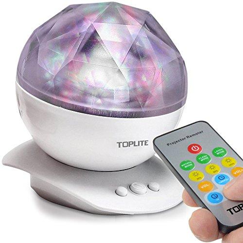 TOPLITE Ozean Projektor mit MP3 Handy Musik Lautsprecher Farbwechsel Ozeanwellen projektor Nachtlicht LED-Nachtlicht Tischleuchte Lampe Dekoration Licht für Kinder Erwachsene Schlafzimmer Kinderzimmer Badezimmer Stimmungslicht (weiss)
