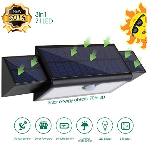 2018 Latest Style 71 LED Super Bright Solar Lights ,Motion Sensor Light ,Additional Panels  Wireles Waterproof, Outdoor Step Lights  for Garden Patio Step Stair Fence Deck Yard Driveway by BAYTTER