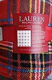 Lauren Ralph Lauren Plush Fleece Throw Blanket Plaid Pattern with Blue Yellow Black White Stripes on Red