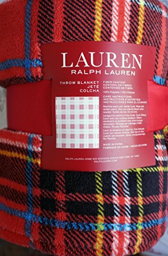 Lauren Ralph Lauren Plush Fleece Throw Blanket Plaid Pattern with Blue Yellow Black White Stripes on Red