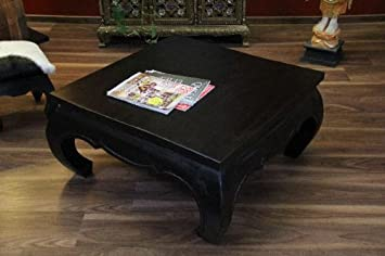 Opiumtisch Couchtisch Aufklappbar Holz Massiv Schwarz 67x67x41