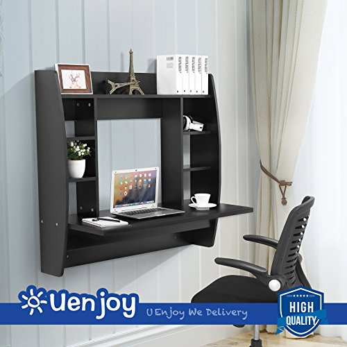 homcom floating wall mount office computer desk. UEnjoy Floating Wall Mounted Office Computer Desk Home Table W/Storage,107cmx 101cmx 50cm,Black - Buy Online In Oman. | Kitchen Products Oman Homcom Mount T