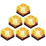 HIOTECH LED Solar Brick Light 6 Pack Waterproof Glass Brick Lights for Outdoor Decoration (Warm Yellow)