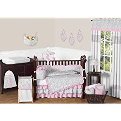 Sweet Jojo Designs Pink and Gray Kenya Baby Girl Bedding 9pc Crib Set