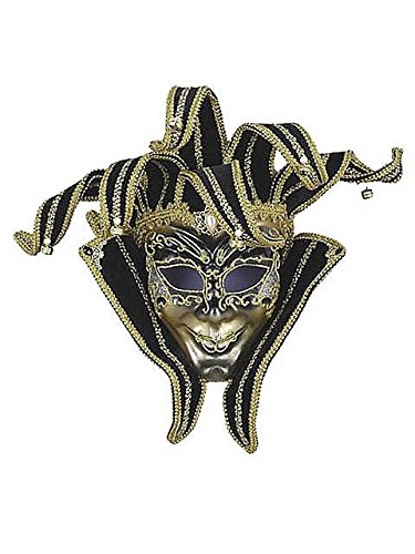 Black and Gold Jester Volto Mask ()