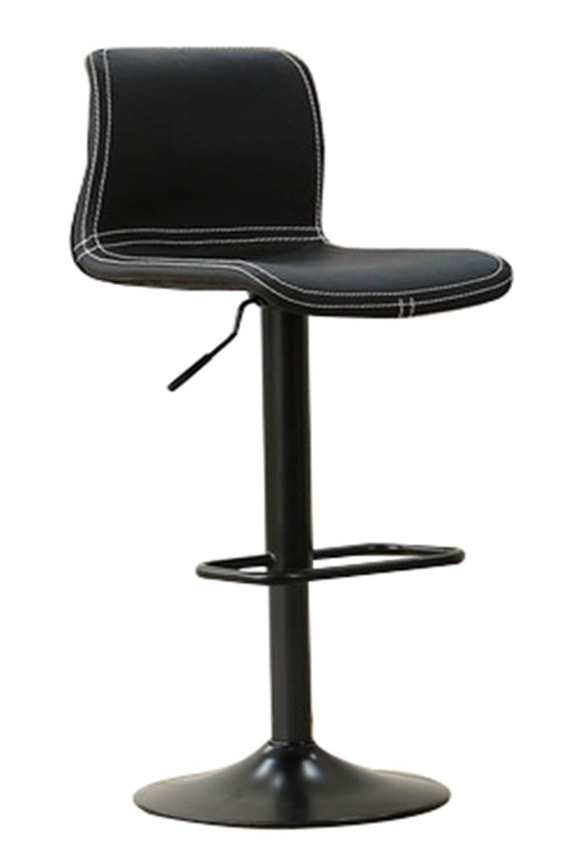 バースツールチェアリフト回転回転高さ調節可能360°回転キッチンスツール(背もたれとフットレスト付き)、ビューティーサロン理髪マニキュアバ B07TNGWLFD black