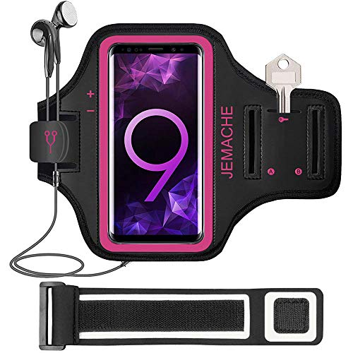 Galaxy S10/S9/S8/S7 Edge Armband, JEMACHE Gym Sports Run Workout Arm Band for Samsung Galaxy S10/S9/S8/S7 Edge with Key/Card Holder (Rosy)