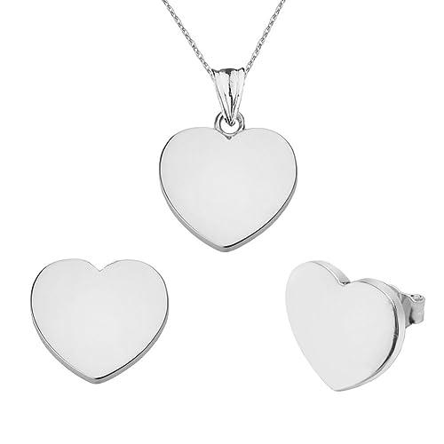 d3c794f74 Amazon.com: Fine 10k White Gold Love Plain Heart Charm Pendant Necklace and  Earrings Set, 16
