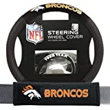Fremont Die Denver Broncos Nfl Steering Wheel Cover And Seatbelt Pad Auto Deluxe Kit