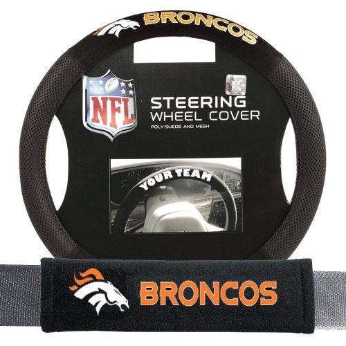 Fremont Die Denver Broncos Nfl Steering Wheel Cover And Seatbelt Pad Auto Deluxe (Nfl Automotive Fan Kit)