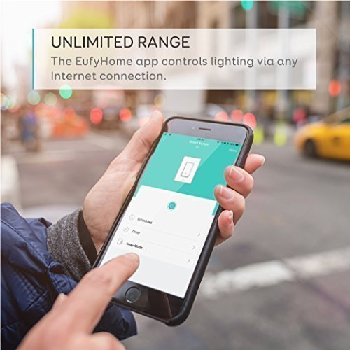 eufy Smart Light Switch By Anker, Amazon Alexa & Google Assistant Compatible, Wi-Fi, Control from Everywhere, No Hub Required, Easy Installation, Single Pole, Requires Neutral Wire,100~120V AC, 15A by eufy