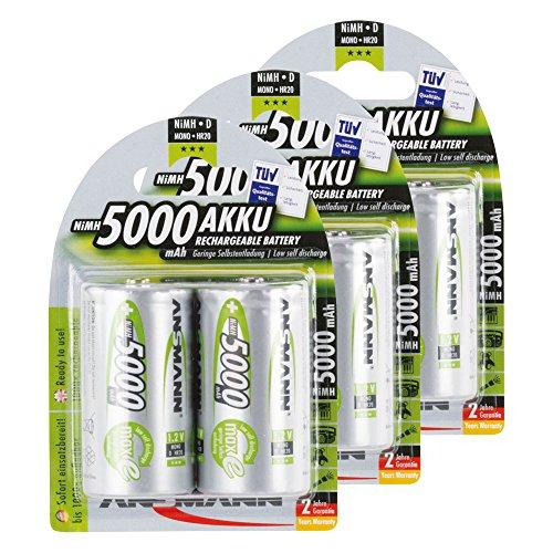 ANSMANN maxE Mono D Akku 5000mAh (6er Pack) vorgeladene ready2use NiMH Power Akkubatterie Monozelle mit geringer Selbstentladung
