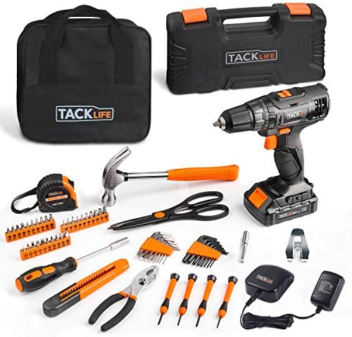 TACKLIFE 20V Cordless Drill 57PCS Home Tool Set,Variable Speed Drill with 19 1 Torque Setting, Toolbox and Storage Case Included – PHK06B