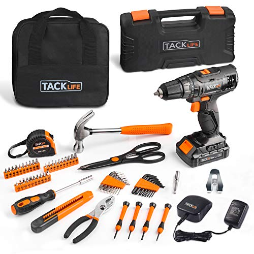TACKLIFE Tool Kit with Drill, 20V Max 30Nm Cordless Drill Driver & Basic Home Tool Kit with Battery, Charger, Hammer, Pliers, 30-in-1 Screwdriver, Allen Wrenches, Tape Measure, 60 Piece -PHK06B