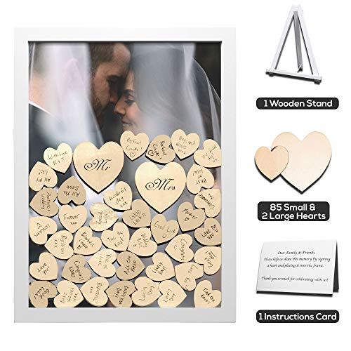 (GLM Wedding Guest Book Alternative Drop Top Wooden Frame with Stand | 85 Small & 2 Large Hearts | Removable Back | Shower, Birthday, Special Occasion)