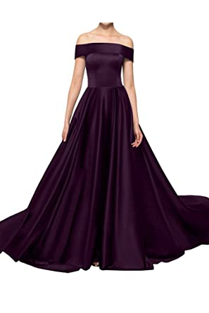 Rieshaneea Womens Long Evening Prom Dresses Satin Off Shoulder - Purple - 28 Plus