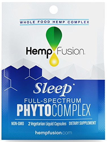 HempFusion Phytocomplex Sleep (Box of 12 Travel Size Pouches, 2 Capsules Each), Whole Food Hemp Complex, 24 Vegetarian Liquid Capsules Total by HempFusion