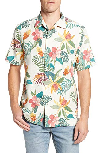 Tommy Bahama Island Zone Beach Crest Blooms Silk Blend Camp Shirt (Color: Continental, Size L)