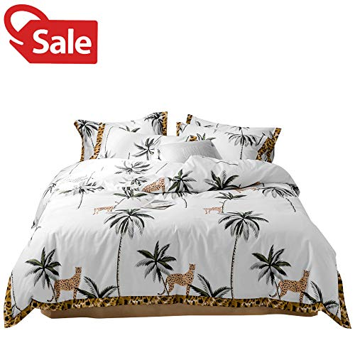 Rainforest Coconut Tree Leopard Print Full Queen Bedding Duvet Cover Wild World Theme Bedding Collections with Leopard Print Edge for Women Men Adults