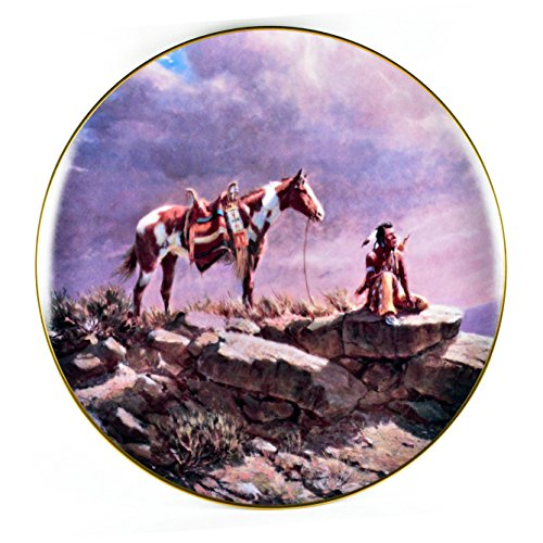 - Olaf Weighorst Art Collectors Plate - Southwestern Art of Native Americans Buffalo Scout Crown Parian c1983 Nib