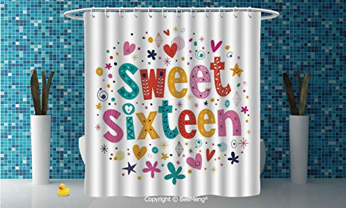 """BeeMeng SimpleDIY Bathroom Curtain Personality Privacy Convenience,16th Birthday Decorations,Hand Drawn Cute Sweet Sixteen Blossoms Petals Stars Heart Pattern,Multicolor,94"""" W x 72"""" H"""