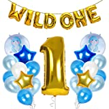 Treasures Gifted Wild One First Birthday Decorations for Safari or Jungle Themed Boys Party Supplies with Gold Blue and Pastel Latex Metallic Number Foil Balloons Banners