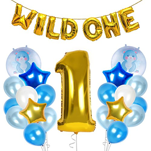 (Treasures Gifted Wild One First Birthday Decorations for Safari or Jungle Themed Boys Party Supplies with Gold Blue and Pastel Latex Metallic Number Foil Balloons)