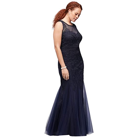 David\'s Bridal Appliqued Filigree Tulle Plus Size Mermaid Mother of ...