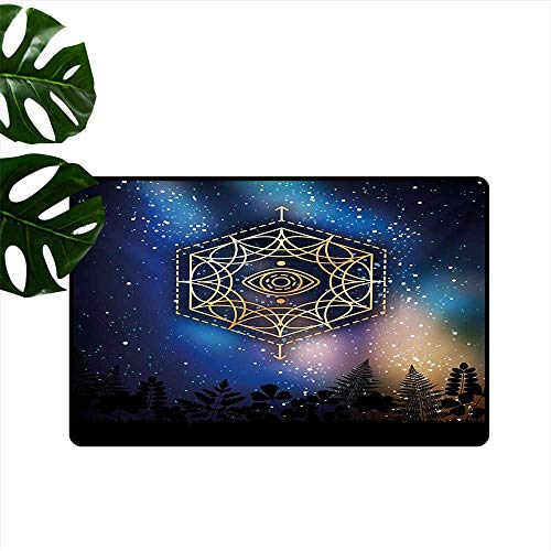 (Non-Slip Floor mat,Hexagon Form with The Eye Icon in The Centre on Starry Night Mystic Image 32