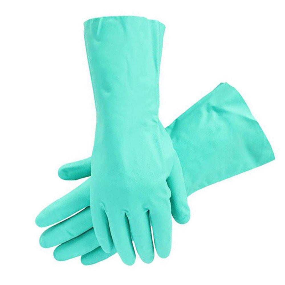 Zinnor Nitrile Gloves Chemical Resistant Gloves Rubber Gloves Straight Flocking Lining Acid-Base Gloves