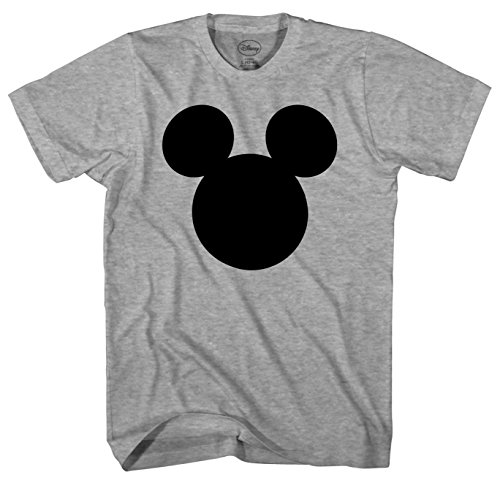Disney Mickey Mouse Head Silhouette Men's Adult Graphic Tee T-Shirt (Grey Heather, Large)]()