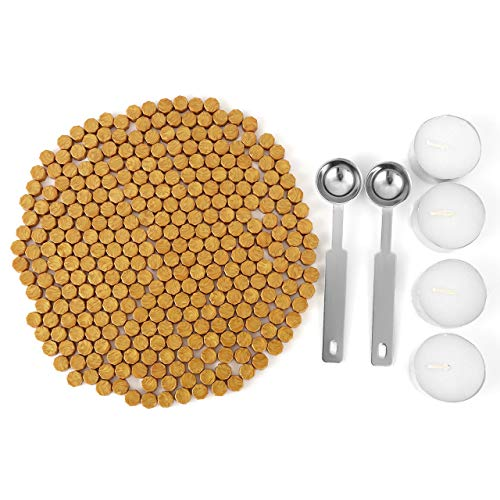 Gold Sealing Wax Beads, Yoption 300 Pieces Octagon Seal Wax Beads with 4 Candles and 2 Melting Spoons for Wax Seal Stamp (Gold) (Seals Gold These)